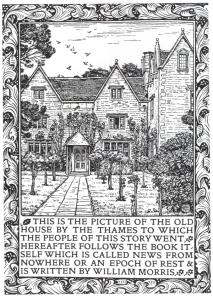 Frontispice des Nouvelles de nulle part  (1892) réalisé dans son imprimerie de Kelmscott Press