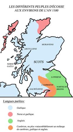 Cette carte montre les différentes zones linguistiques de l'Ecosse médiévale (le cambrien est une langue britonnique)